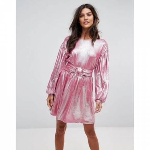 ドレス ピンク レディースファッション ワンピース 【 PINK VERO MODA METALIC MINI SKATER DRESS IN 】