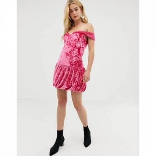 ドレス ピンク レディースファッション ワンピース 【 PINK VERO MODA OFF SHOULDER VELVET BODYCON MINI DRESS IN 】