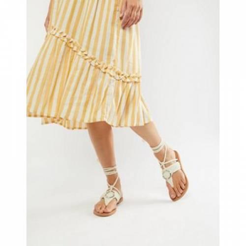 【 ASOS DESIGN FLETCHER TIE LEG WITH RING DETAIL SANDALS 】