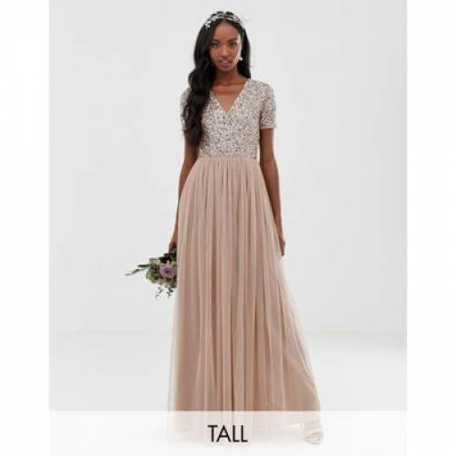 ドレス レディースファッション ワンピース 【 MAYA TALL BRIDESMAID V NECK MAXI TULLE DRESS WITH TONAL DELICATE SEQUINS 】