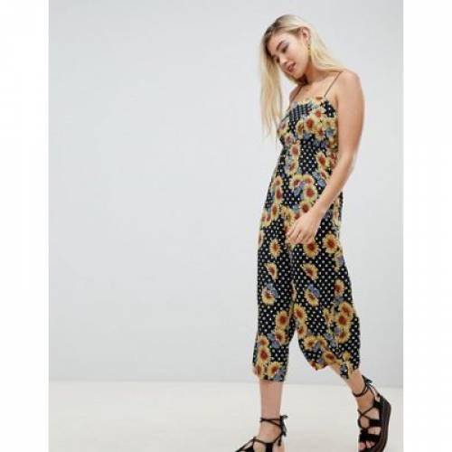 レディースファッション オールインワン サロペット 【 ASOS DESIGN PINNY JUMPSUIT IN CRINKLE FLORAL SPOT PRINT 】