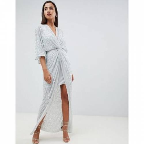 ドレス レディースファッション ワンピース 【 ASOS DESIGN SCATTER SEQUIN KNOT FRONT KIMONO MAXI DRESS 】