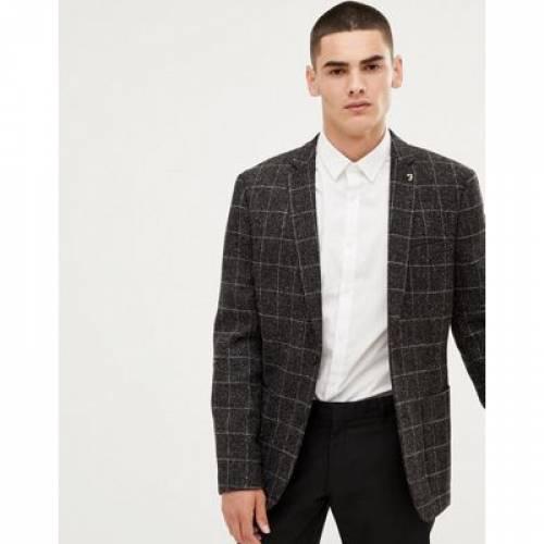 ブレーザー ブレイザー GRAY灰色 グレイ メンズファッション コート ジャケット 【 GREY FARAH SKINNY WINDOWPANE CHECK BLAZER IN 】