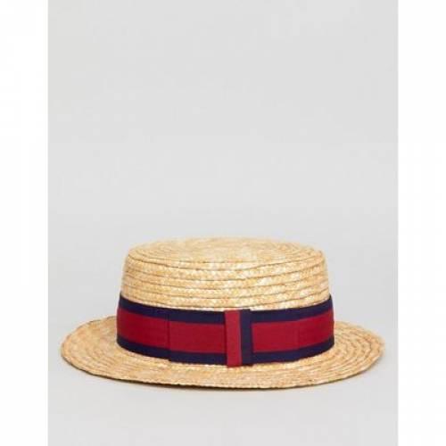 メンズファッション 【 ASOS DESIGN BOATER HAT IN BEIGE STRAW WITH BAND DETAIL 】