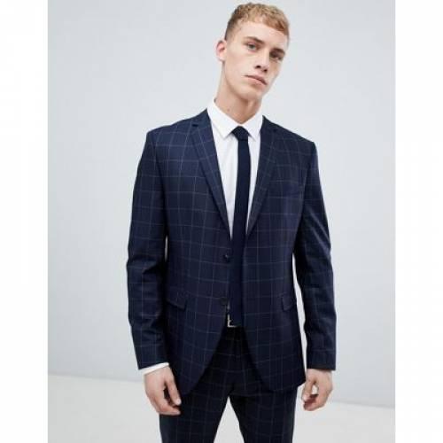 紺 ネイビー スリム メンズファッション コート ジャケット 【 NAVY SLIM SELECTED HOMME SUIT JACKET WITH GRID CHECK IN FIT 】 ※セットアップではありません