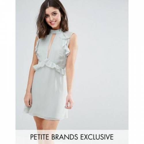 ドレス レディースファッション ワンピース 【 TRUE DECADENCE PETITE RUFFLE SHOULDER MINI SKATER DRESS 】