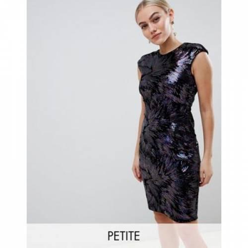 ドレス 紫 パープル レディースファッション ワンピース 【 PURPLE LITTLE MISTRESS PETITE ALLOVER SEQUIN PENCIL DRESS IN MULTI 】