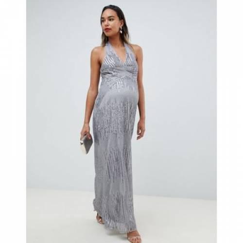 ドレス 銀色 シルバー レディースファッション ワンピース 【 SILVER TFNC MATERNITY SEQUIN MAXI DRESS WITH OPEN BACK IN 】