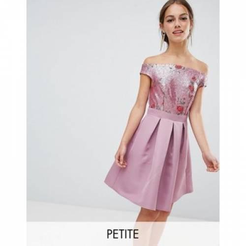 ドレス レディースファッション ワンピース 【 LITTLE MISTRESS PETITE BARDOT SEQUIN TOP MINI PROM DRESS 】