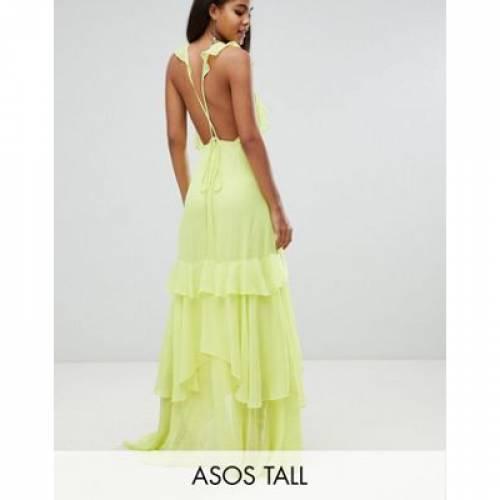 ドレス レディースファッション ワンピース 【 ASOS DESIGN TALL RUFFLE MAXI DRESS WITH STRAPPY BACK 】