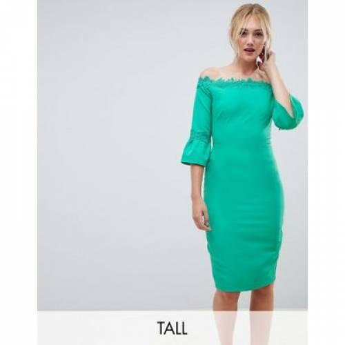 ドレス レディースファッション ワンピース 【 PAPER DOLLS TALL OFF SHOULDER PENCIL DRESS WITH CROCHET TRIM 】