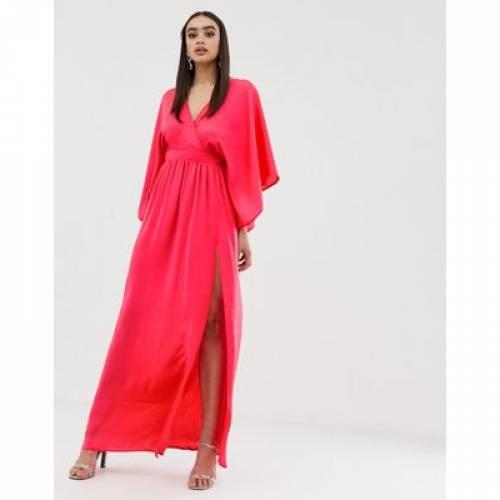 ラップ ドレス レディースファッション ワンピース 【 WRAP FLOUNCE LONDON FRONT KIMONO MAXI DRESS WITH THIGH SPLIT 】