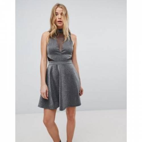 【海外限定】ドレス レディースファッション ワンピース 【 NEW LOOK MESH INSERT METALLIC SKATER DRESS 】