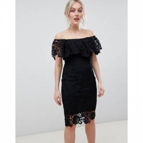 ドレス 黒 ブラック レディースファッション ワンピース 【 BLACK PAPER DOLLS PETITE BARDOT LACE PENCIL DRESS WITH FRILL DETAIL IN 】
