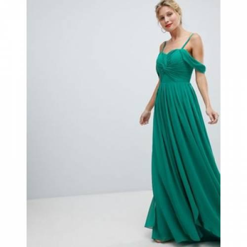 ドレス Y.A.S レディースファッション ワンピース 【 FLOATY MAXI DRESS WITH COLD SHOULDER 】