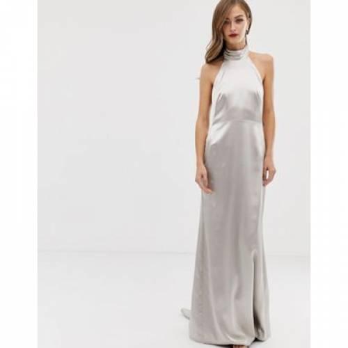 ドレス レディースファッション ワンピース 【 ASOS EDITION HALTER MAXI DRESS WITH FISHTAIL 】
