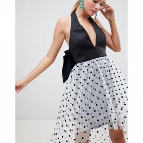 ドレス レディースファッション ワンピース 【 ASOS DESIGN HALTER NECK POLKA DOT TULLE DRESS 】