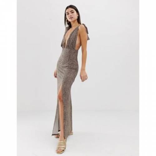 ストラップ ドレス レディースファッション ワンピース 【 ASOS DESIGN TIE STRAP PLUNGE MAXI DRESS IN LEOPARD PRINT 】