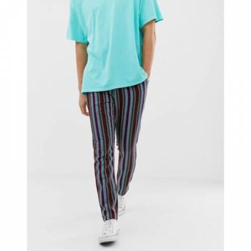 メンズファッション ズボン パンツ 【 ASOS DESIGN TAPERED TROUSERS IN ABSTRACT 】