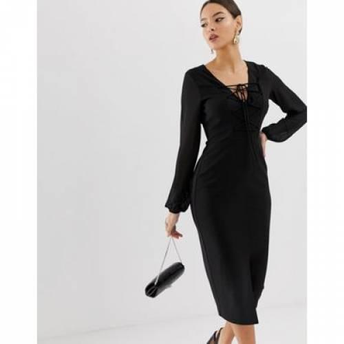 ウーブン ドレス レディースファッション ワンピース 【 WOVEN ASOS DESIGN MIX PENCIL DRESS WITH LACE UP FRONT 】