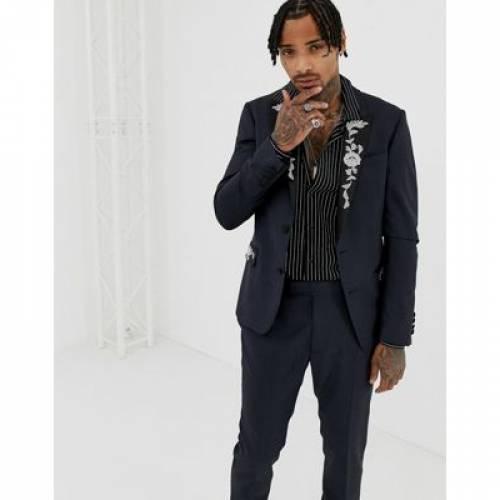 紺 ネイビー 100% メンズファッション コート ジャケット 【 NAVY ASOS EDITION SKINNY SUIT JACKET IN WOOL WITH EMBROIDERY 】 ※セットアップではありません