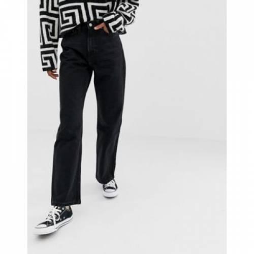 スリム 黒 ブラック レディースファッション ボトムス パンツ 【 SLIM BLACK WEEKDAY ROW ORGANIC COTTON STRAIGHT LEG JEANS IN WASHED 】