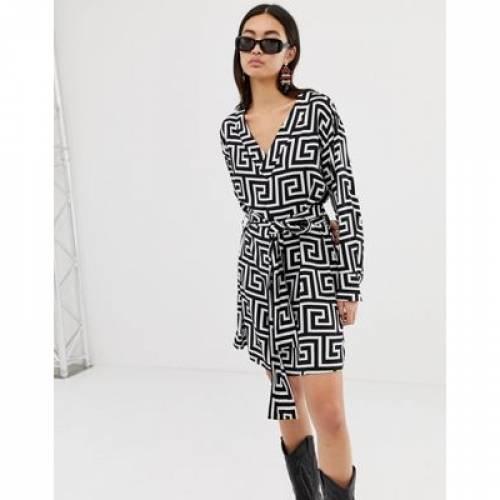 ラップ ドレス レディースファッション ワンピース 【 WRAP WEEKDAY FRONT GEOMETRIC ROMAN PRINT DRESS 】