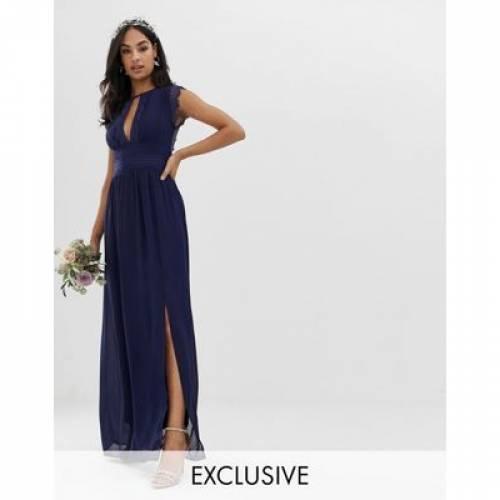 ドレス 紺 ネイビー レディースファッション ワンピース 【 NAVY TFNC LACE DETAIL MAXI BRIDESMAID DRESS IN 】