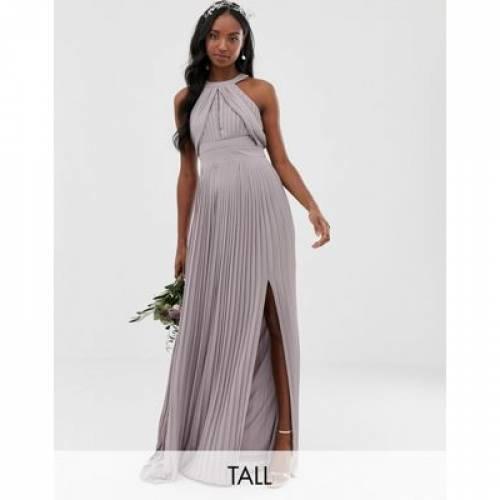 ドレス GRAY灰色 グレイ レディースファッション ワンピース 【 GREY TFNC TALL BRIDESMAID EXCLUSIVE PLEATED MAXI DRESS IN 】