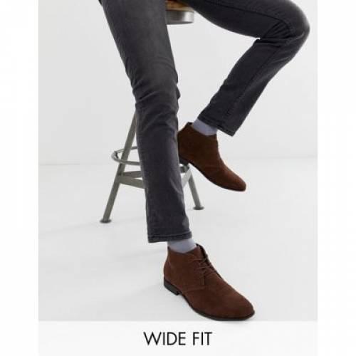 チャッカ 茶 ブラウン スエード スウェード メンズ ブーツ 【 BROWN ASOS DESIGN WIDE FIT CHUKKA BOOTS IN FAUX SUEDE 】
