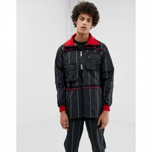 ウィンドブレーカー 黒 ブラック ストライプ メンズファッション コート ジャケット 【 BLACK STRIPE LYPH WINDBREAKER JACKET WITH DETACHABLE POCKETS IN 】
