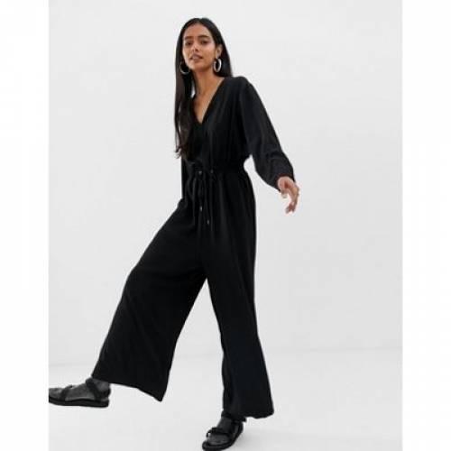 黒 ブラック レディースファッション オールインワン サロペット 【 BLACK WEEKDAY JUMPSUIT WITH DRAWSTRING WAIST IN 】
