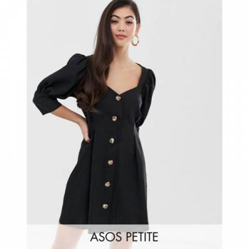 ドレス レディースファッション ワンピース 【 ASOS DESIGN PETITE SCOOP NECK BUTTON THROUGH MINI DRESS 】