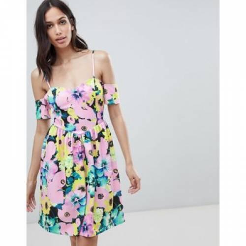 ドレス レディースファッション ワンピース 【 ASOS DESIGN COLD SHOULDER FLORAL PRINT PROM DRESS 】