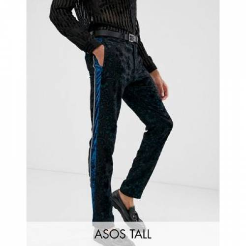 スリム メンズファッション ズボン パンツ 【 SLIM ASOS EDITION TALL TUXEDO SUIT TROUSERS IN TEAL BURNOUT VELVET 】