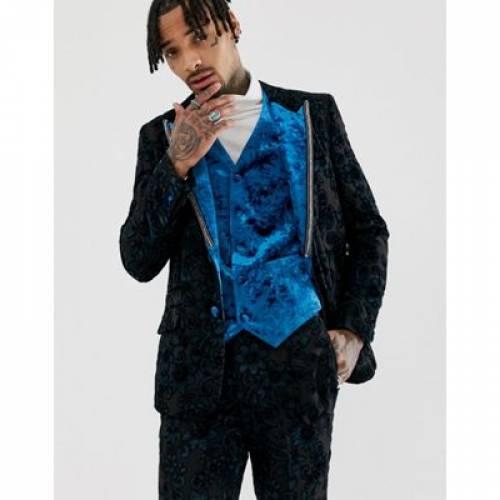 【海外限定】スリム メンズファッション コート ジャケット 【 SLIM ASOS EDITION TUXEDO JACKET IN TEAL BURNOUT VELVET 】