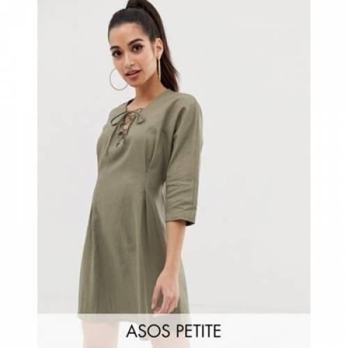 ドレス レディースファッション ワンピース 【 ASOS DESIGN PETITE LACE UP MINI DRESS IN LINEN 】