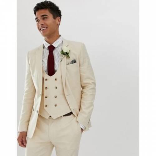 メンズファッション コート ジャケット 【 ASOS DESIGN WEDDING SUPER SKINNY SUIT JACKET IN STONE LINEN 】 ※セットアップではありません