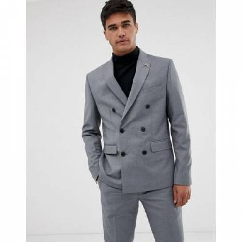 GRAY灰色 グレイ メンズファッション コート ジャケット 【 GREY FARAH HENDERSON SKINNY FIT DOUBLE BREASTED SUIT JACKET IN 】 ※セットアップではありません