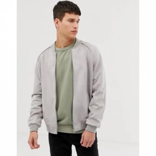 スエード スウェード GRAY灰色 グレイ メンズファッション コート ジャケット 【 GREY ASOS DESIGN FAUX SUEDE BOMBER JACKET IN 】