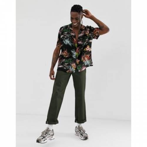 【海外限定】黒 ブラック メンズファッション トップス カジュアルシャツ 【 BLACK ASOS DESIGN RELAXED PAINTED STYLE FLORAL SHIRT IN 】