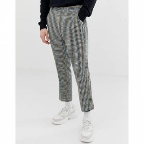 スリム クロップ GRAY灰色 グレイ ミクロ 青 ブルー ストライプ メンズファッション ズボン パンツ 【 SLIM CROP GREY MICRO BLUE STRIPE ASOS DESIGN SMART TROUSERS IN CHECK WITH 】