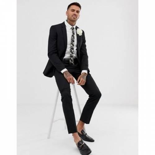 黒 ブラック メンズファッション コート ジャケット 【 BLACK RIVER ISLAND WEDDING SKINNY SUIT JACKET IN 】 ※セットアップではありません