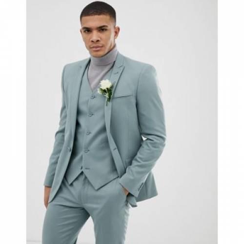 青 ブルー メンズファッション コート ジャケット 【 BLUE ASOS DESIGN WEDDING SKINNY SUIT JACKET IN PASTEL 】 ※セットアップではありません