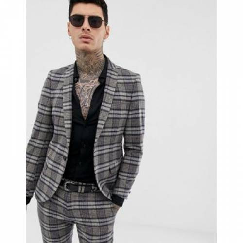 メンズファッション コート ジャケット 【 TWISTED TAILOR SUPER SKINNY SUIT JACKET IN SPECKLED TARTAN 】 ※セットアップではありません