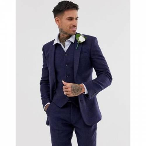 【海外限定】青 ブルー ミクロ メンズファッション コート ジャケット 【 BLUE MICRO ASOS DESIGN WEDDING SUPER SKINNY SUIT JACKET IN CHECK 】 ※セットアップではありません