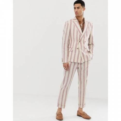 クリーム ストライプ メンズファッション コート ジャケット 【 STRIPE ASOS DESIGN SKINNY DOUBLE BREASTED SUIT JACKET IN CREAM LINEN 】 ※セットアップではありません
