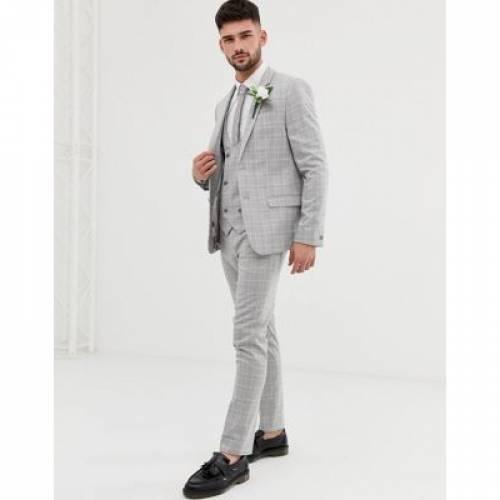GRAY灰色 グレイ メンズファッション コート ジャケット 【 GREY RIVER ISLAND WEDDING SKINNY SUIT JACKET IN CHECK 】 ※セットアップではありません