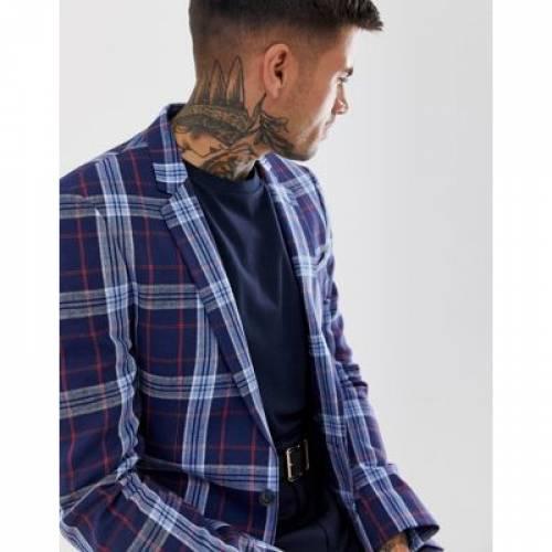 ブレーザー ブレイザー 青 ブルー メンズファッション コート ジャケット 【 BLUE ASOS DESIGN SKINNY LINEN BLAZER IN WITH CHECK 】