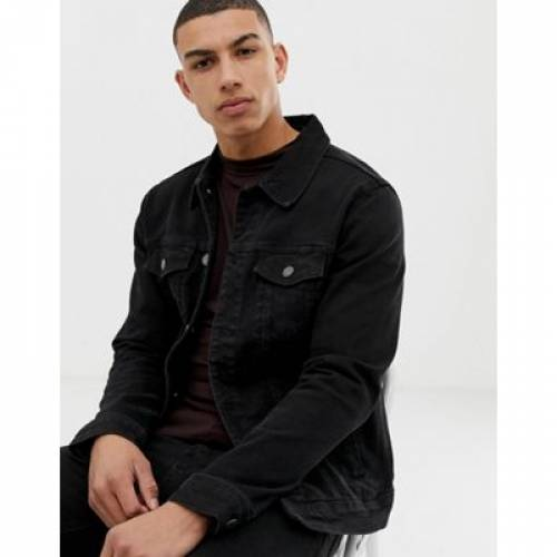 デニム 黒 ブラック PULL&BEAR メンズファッション コート ジャケット 【 BLACK DENIM JACKET IN 】